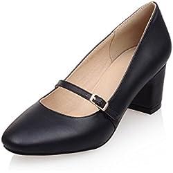 Damen Mode Solid Color Quadratische Zehe Pumps Mary Janes Schuhe (37, schwarz)