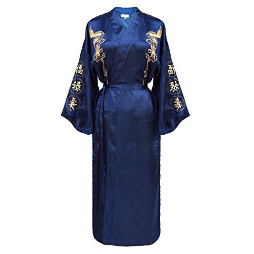 Laciteinterdite giapponesi-Kimono da donna a forma di drago, colore: azzurro e Dorato Blu