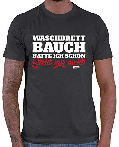 HARIZ  Herren T-Shirt Waschbrettbauch Hatte Ich Schon Steht Mir Nicht Lustiger Spruch Plus Geschenkkarten Dunkel Grau 3XL