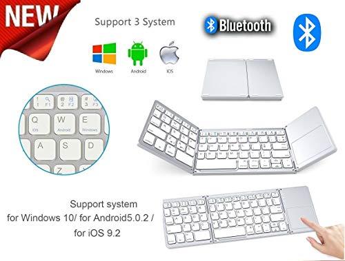 IDOR STORE Tastiera Bluetooth Pieghevole Wireless Tastiera Flessibile da Tasca Mini Ricaricabile, per Apple iPhone iPad Mac Samsung Galaxy Tablet iOS/Android/Windows Device