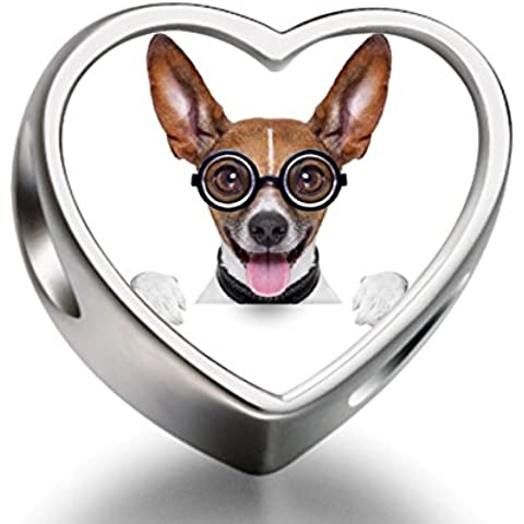 Rarelove Sterling Silver Cute Chihuahua Dog with Glasses Animal Heart Photo European Charm Bead
