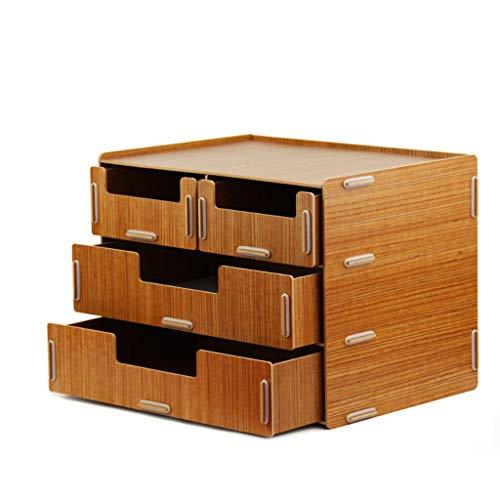 Aktenschrank HUXIUPING Datei-Kasten-Fach-Art hölzerne Tischplattendatei mit Speicher-Speicher-Kasten-Kabinett groß (Color : Teak) -