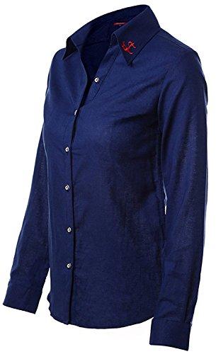 Dioufond® Modisch Damen Bluse Langarm Schlank Arbeithemd V-Ausschnitt mit Knöpfe Business Bluse Bügelfrei Navy
