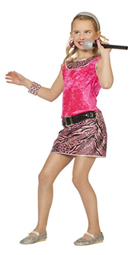 ockstar Mädchen-Kostüm Popstar Mädchen Kinder-Kostüm Sängerin Musikerin Disco Kleid Kostüm Größe 176 (Kinder Rockstar Kostüm)