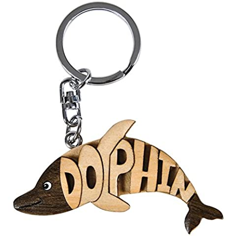 Rhode Island de señal de madera de palabra diseño de delfín llavero con muñeca