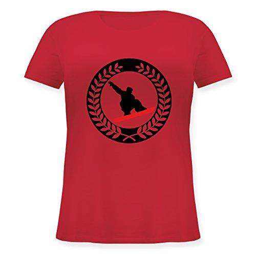 Wintersport - Snowboard Sichel Kranz - Lockeres Damen-Shirt in großen Größen mit Rundhalsausschnitt Rot