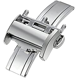 New 18mm Solid Stainless Steel Deployment Clasp Buckle Fit Longines Leather Watch Band Strap