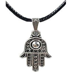 Collar colgante símbolo con la mano de Buda y los cordones Cordón Negro - Idea regalo