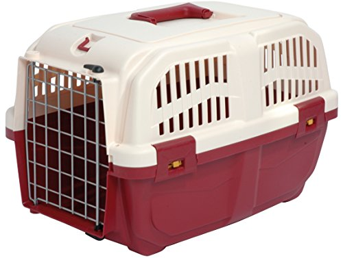 dobar 34266 Robuste Transportbox für Hunde, Katzen, Kunststoff Reisebox, 48 x 31.5 x 31 cm, rot