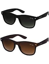Silver Kartz Combo of 2 Wayfarer Unisex Sunglasses(Wy-001-005|50|Black, Brown)