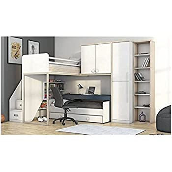 hochbett etagenbett mit kleiderschrank und schreibtisch 215145 wei alu k che. Black Bedroom Furniture Sets. Home Design Ideas