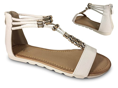 Damen Sandalen Perlen Glitzer Nieten Sandaletten Riemchen Römer ST660 Weiß