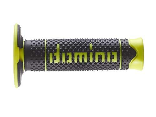 Domino Paar Griffe aus Gummi weiß/schwarz/gelb FLUO DSH (DOMINO SOFT HAND) für Motorrad OFF ROAD CROSS/ENDURO Länge: 120 mm Zubehör: 97.5595.04-00