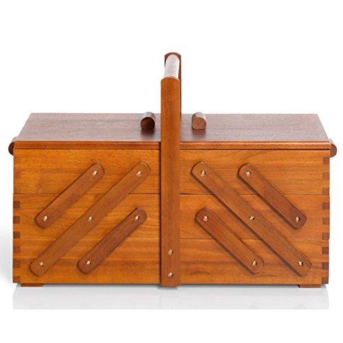 Prym Boîte à couture en bois foncé naturel | Grande 45x 28x 23cm | 612551