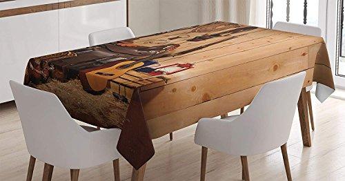 (Yeuss Western Decor Tischdecke American Texas Style Country Musik Gitarre Cowboy Stiefel USA Folk Kultur, Esszimmer Küche Tisch, rechteckig, Creme Braun, 132,1x 177,8cm, 52