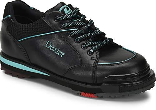 EMAX Bowling Service GmbH MAXIMIZE YOUR GAME Dexter SST 8 Pro - Schwarz/Türkis - Bowlingschuhe für Damen mit Wechselsohle für Rechts- und Linkshänder Größe 37,5