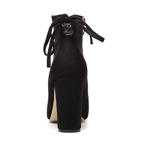 Damen Winter Aufzug Stiefeln Warme Atmungsaktive Einfache Wildleder Quaste Stilettos Sehr Hoch Elegante Kurzschaft Schuhe Schwarz