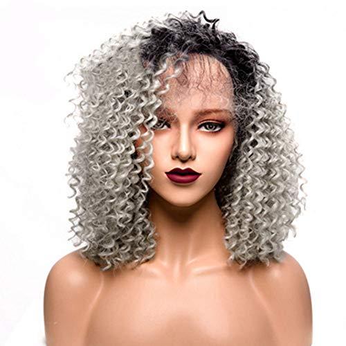 arze und braune Perücke, Lady Fashion Daily hitzebeständige Lace Front Haarperücken, dunkle Wurzel graue Perücke ()