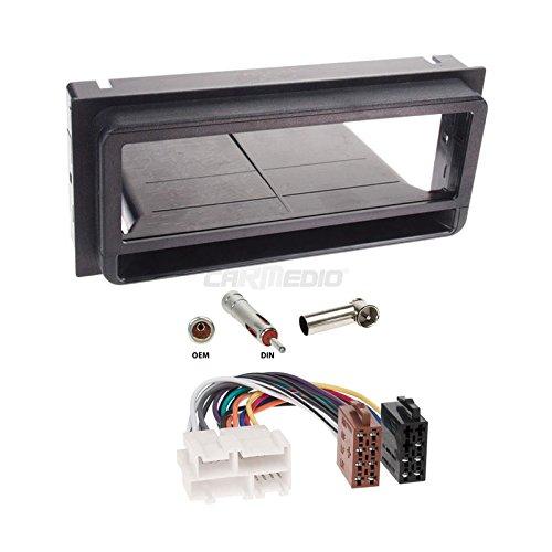 GM Pontiac Firebird 97-02 1-DIN Autoradio Einbauset in original Plug&Play Qualität mit Antennenadapter, Radioanschlusskabel, Zubehör und Radioblende/Einbaurahmen schwarz (97 Pontiac)