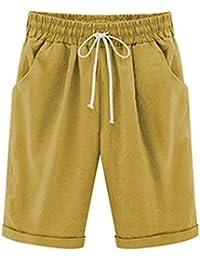Elonglin Shorts Uni-Couleur avec élastique Ceinture de Pantalon Bermuda  Femme en Coton Coupe Large 813bbee97bf