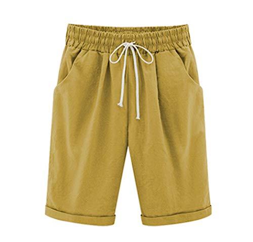 Elonglin Damen Bermuda Shorts Baumwolle Knielang Sommer Kurze Hose mit Tunnelzug Frauen Große Größen Locker Stretch Gelb DE S(Asie L) -