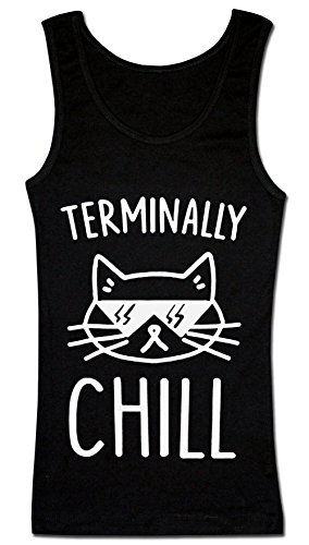 Finest Prints Terminally Chill Cool Cat with Sunglases Damen Tank Top Small (Hipster-sunglases)