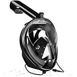 CHQSMZ Masque De Plongée Nouveau Masque De Plongée avec Masque Anti-Buée Snorkeling Intégral avec Anneau Anti-Dérapant Bouchons d'oreilles L/XL Noir