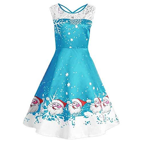 UJUNAOR Damen-Kleid Weihnachtsdruck mit Ärmellos für Abend Party Knie Rock(Blau,CN 2XL)