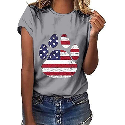 CixNy Damen Kurzarm T-Shirt Sommer Einfarbig Plus Size Klee Flagge Druck Tops Frauen Weste Bluse Oberteile Blau Gelb Grau Marine Rot Weiß Schwarz S-XXXL -