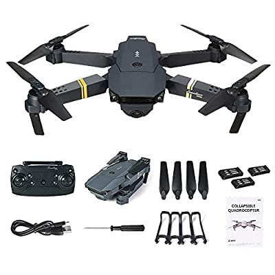 squarex E58 2MP w/ 720P Camera WIFI FPV Foldable Selfie Drone RC Quadcopter RTF + 3 Batteries, One-key Take-off & Landing, Foldable Design, Easy to Fly for Beginners