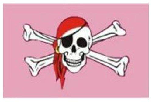 (5ft x 3ft (150x 90cm) Totenkopf Pirat Bandana Rosa Gay Pride 100% Polyester Material Flagge Banner Ideal für Pub Club Schule Festival Business Party Dekoration)