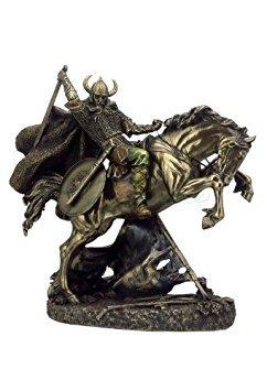 Kostüm Norse Viking - Viking Warrior Going to Schlacht auf Pferd nordischen Gott Statue Skulptur