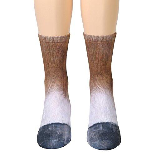 Tier Füße Socken Unisex Erwachsene Tier Pfote Crew Socken Sublimated 3D Print Füße Socken (Pferd)