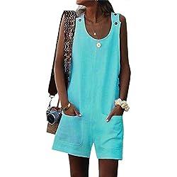 Tomwell Combinaison Femme Combishorts Longue Court Pantalon Rompers Taille Haute sans Manche Jumpsuit de Soirée Vert FR 38