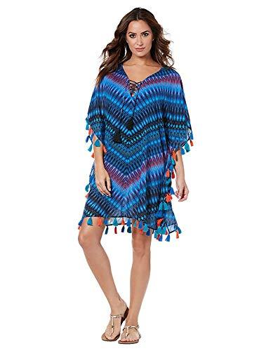 Miraclesuit Swim Caftan Cover Up (Small, Marrakech) - Damen Flutter Sleeve Dress