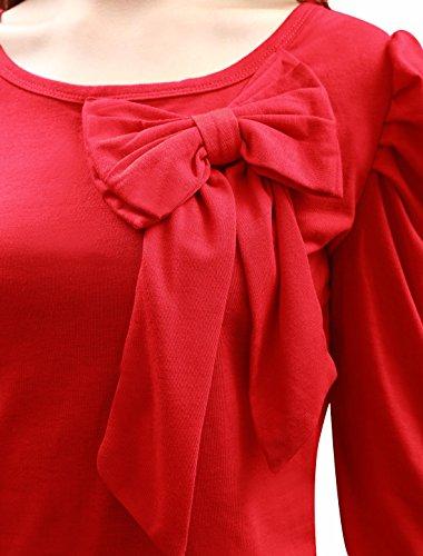 Allegra K Femme Decolleté Long Princesse Manches Nœud Papillon Décoration Chemise Décontractée red