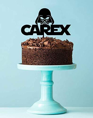 Star Wars Darth Vader Geburtstagskuchenaufsatz - The Force Star Wars Kuchendekoration mit Namen - Kindergeburtstag Party Kuchen-Dekoration