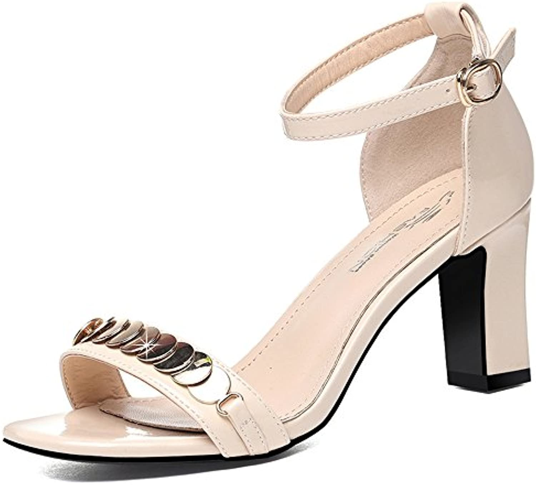 HAIZHEN Frauenschuhe Sandalen Damenschuhe Sommer Basic Chunky Heel Open Toe Perlen für Casual für 18-40 Jahreö