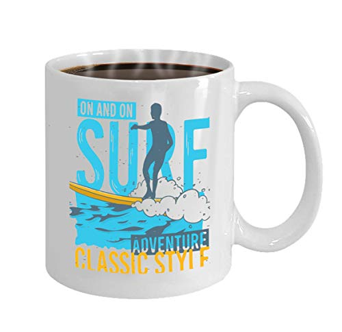 Christmas/New Year Gifts Tea Or Coffee Or Wine Cup 100% Ceramic 11-Ounce White Mug surfing surf themed promotion ads sticker poster fl