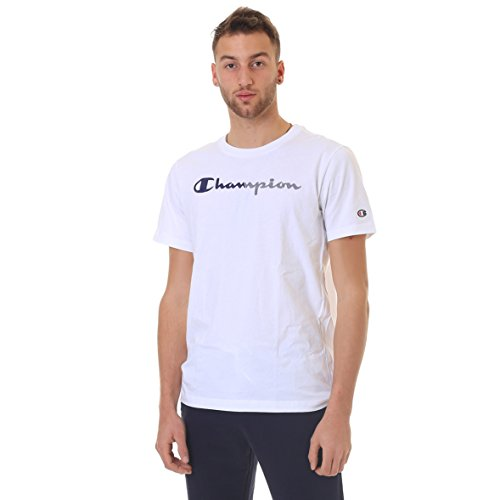 Champion Herren Crewneck T-Shirt EV.0, Weiß (Wht), Medium (Champion Weißen T-shirt)