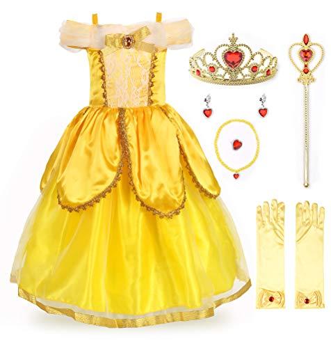 JerrisApparel Belle Kleider Kostüm Party Schick Ankleiden für Prinzessin Mädchen (5 Jahre, Gelb 2 mit Zubehör)