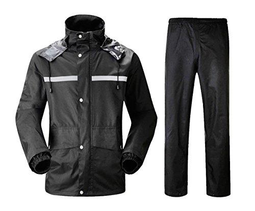 Insun Erwachsenen Wasserdichten Anzug mit Reflexstreifen Regenjacke mit Kapuze und Regenhose für Damen und Herren Schwarz M - Radfahrer Knöchel Band
