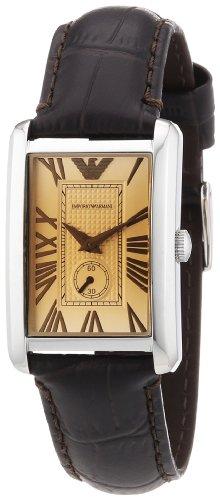 Emporio Armani Classic Marco AR1637 - Reloj de cuarzo para mujer, correa de cuero color marrón