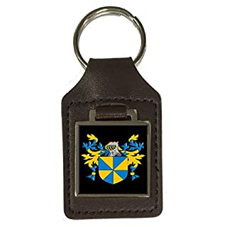 Allwin Family Crest Surname Coat of Arms Brown Leather Keyring Engraved
