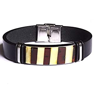 Baltischer Bernstein Mosaik Schwarz 14mm Leder Unisex Armband