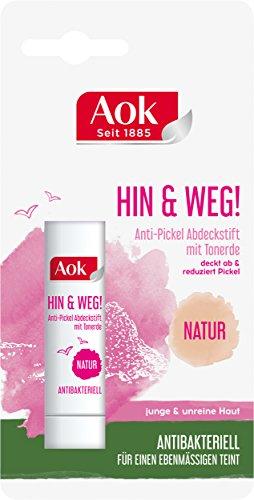 Preisvergleich Produktbild Aok Anti-Pickel Abdeckstift mit Tonerde,  Natur,  3er Pack (3 x 1 Stück)