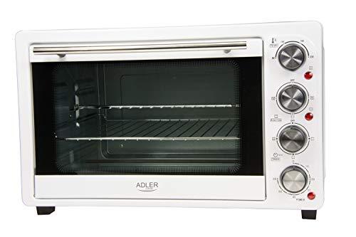 Adler AD-6001 Horno de sobremesa con convección 34 litros, 200 W, 0 Decibeles, Acero Inoxidable, Blanco...