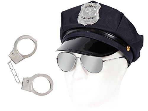 ung für Erwachsene Outfit KV-30 Polizei-Ausrüstung Polizist-Outfit Karneval Fasching Kostüm Paket Polizeihut + Pilotenbrille + Handschellen ALSINO (Cop Outfit)