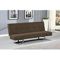 HomeSouth – Sofá cama clic clac, tapizado en tela Jarama color Chocolate, patas cromadas, medidas: 185x84,5x80 cm de fondo