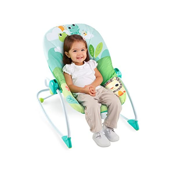 Bright Starts Playful Parade Baby to Big Kid Rocker Bright-Starts Seat can rock back and forth to soothe, or can be set to a fixed position for small babies and older toddlers Full body recline with 2 positions Soothing vibrations 9